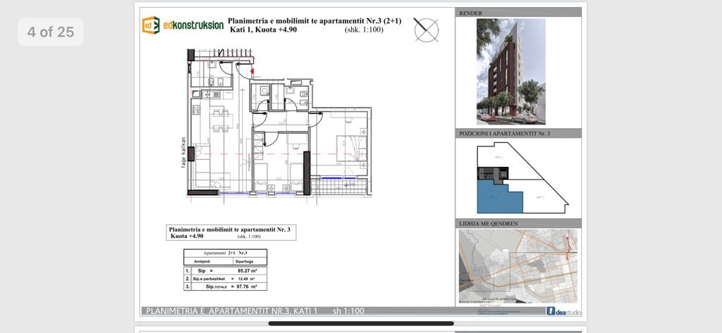 Planimetria e apartamentit nr3 kati 1