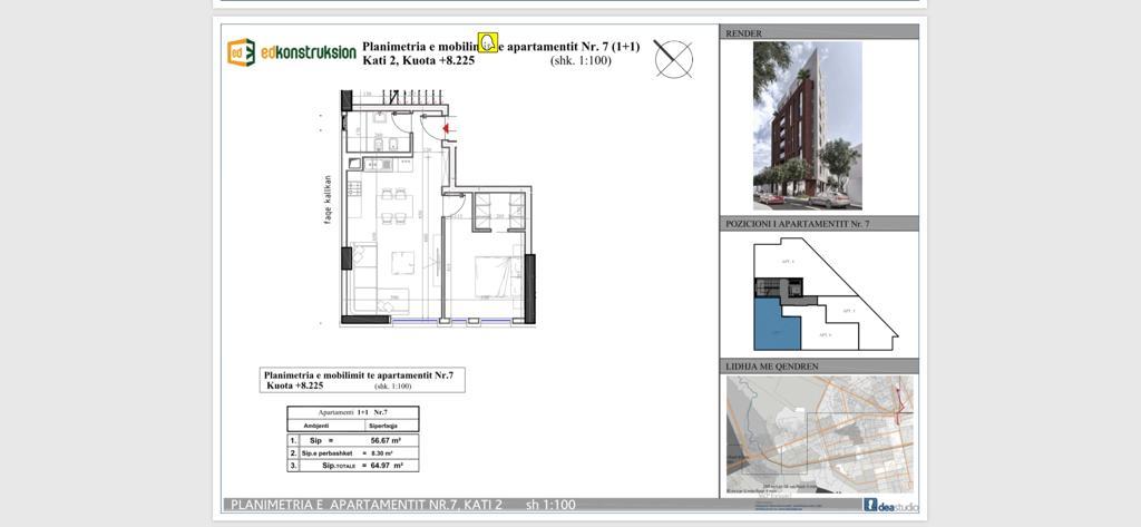 Planimetria e apartamentin nr 7, kati 2